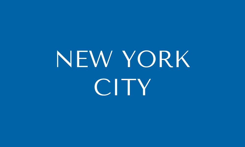 Blue box that says New York